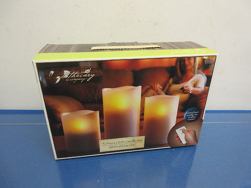 Apothecary & Co. 3pc LED candle set with remote, New in box,