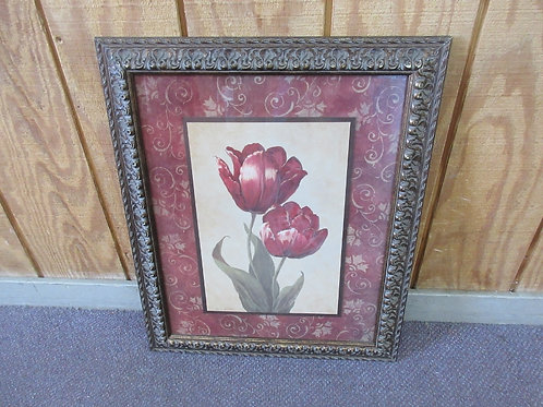 Red Lily print in gold frame, 20x24""
