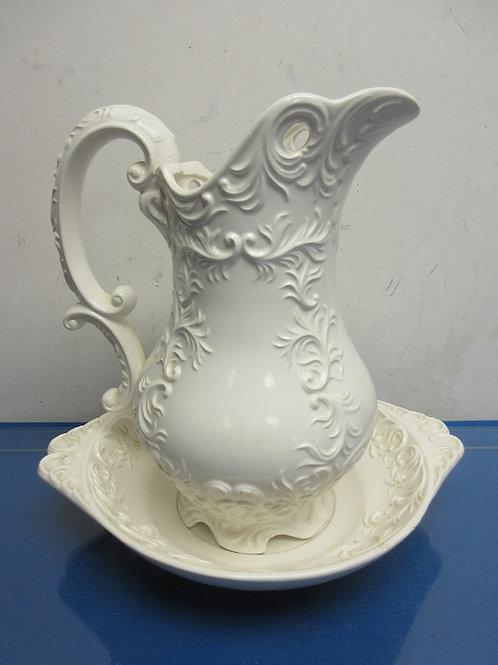 Vintage ornate white large pitcher and basin