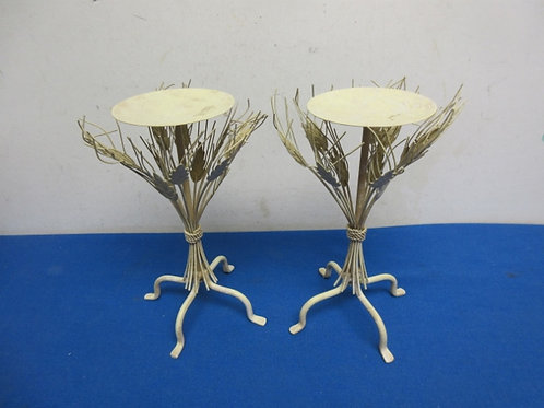 Pair of metal wheat design pillar candle stands