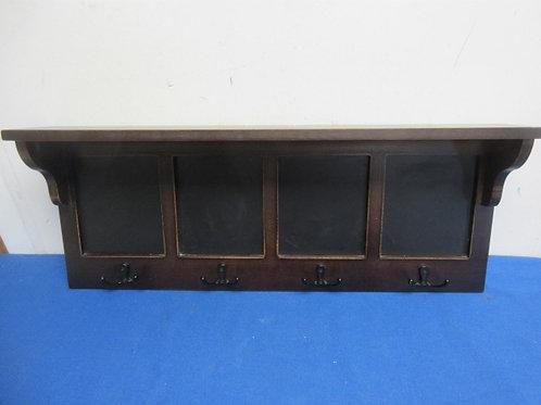 Cherry tone wall shelf with coat hooks & small chalk board