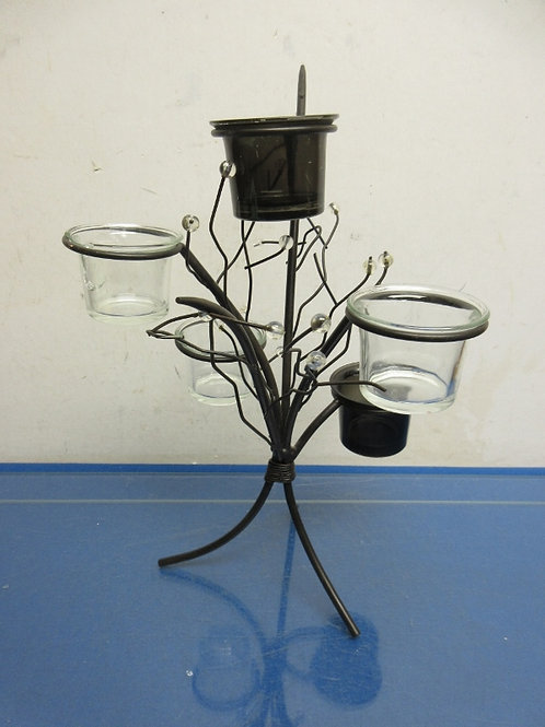Black metal candle holder with beads, holds 5 votive candles