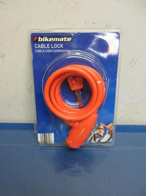 Orange bikemate cable bike lock with keys