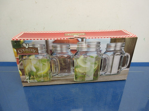 Country Chic set of 4 glass mason jar style mugs, new in box
