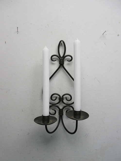 Black double candle wall hanging includes 2 white candles