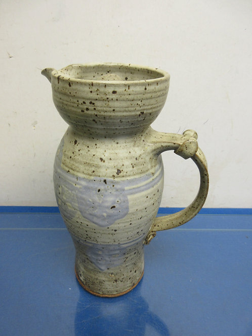 """Handmade speckled pottery pitcher with lid-11"""""""