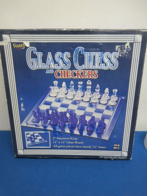 Fundex glass chess and checkers set - in box