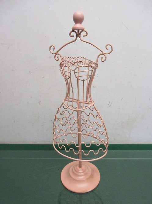 "Pink metal dress form jewelry hanging organizer, 17"" tall"