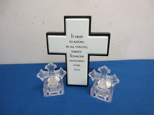 Hallmark cross with a saying plus 2 small cross tea lite holders