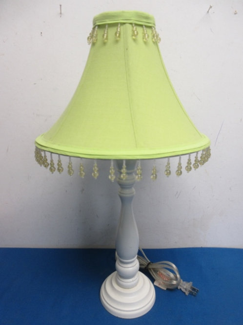 """White wooden lamp with lime green beaded shade, 20"""" high"""