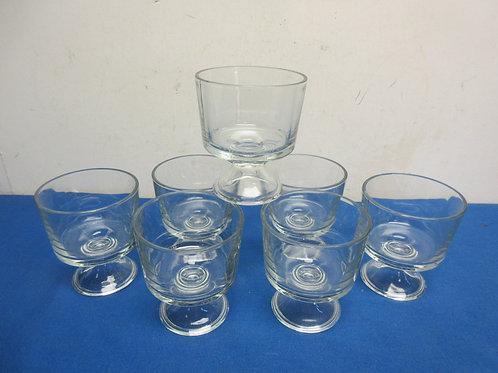 Set of 7 pedestal glass dessert dishes