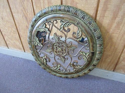 "Earthtone ornate metal design over mirror round wall hanging - 23""dia"