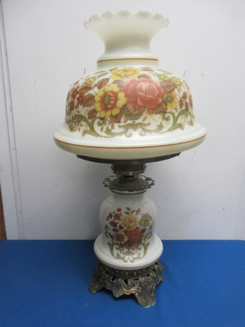"""Large white hurrican lamp, floral design, both bottom and top light up, 24"""" tall"""