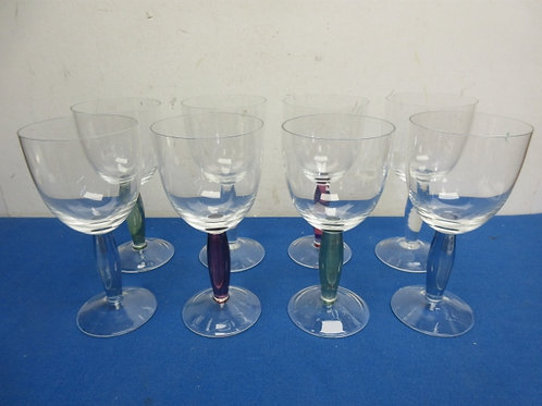 Set of 8 noritake wine glasses with colored glass stems