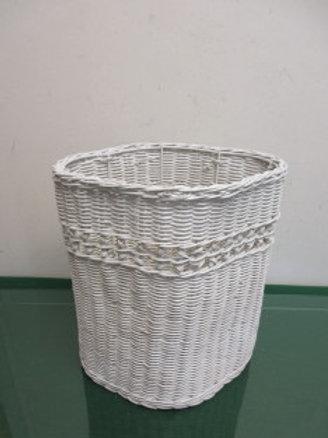 White Wicker Waste Basket
