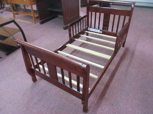 Cherry finish mission style toddler bed - fits crib size mattress