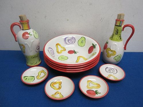 Tabletops unlimited pasta set - 4 pasta bowls, 4 oil dipping plates & 2 oil bott