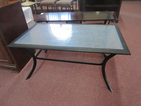"""Black metal patio coffee table with glass top 24x42 x 19""""high"""
