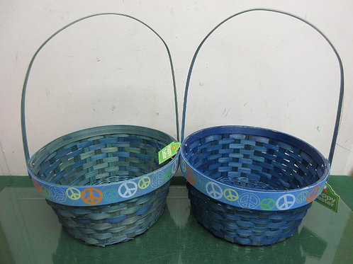 Pair of blue round Easter baskets with peace signs around edge