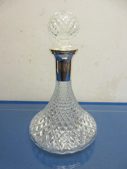 "Wide base narrow neck cut glass decanter with ball shaped stopper 12""high"
