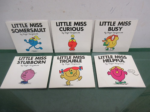 Set of 6 Roger Hargreaves books, little miss curious, L. M. busy….