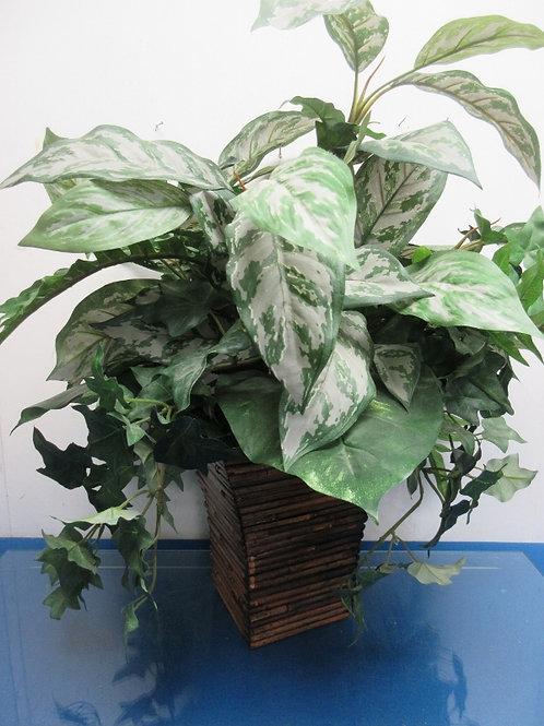 """Green leafy arrangement in wood twig planter, 24"""" high"""