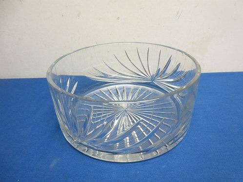 "Very heavy cut glass round bowl, 10"" dia x 4.5"" deep"