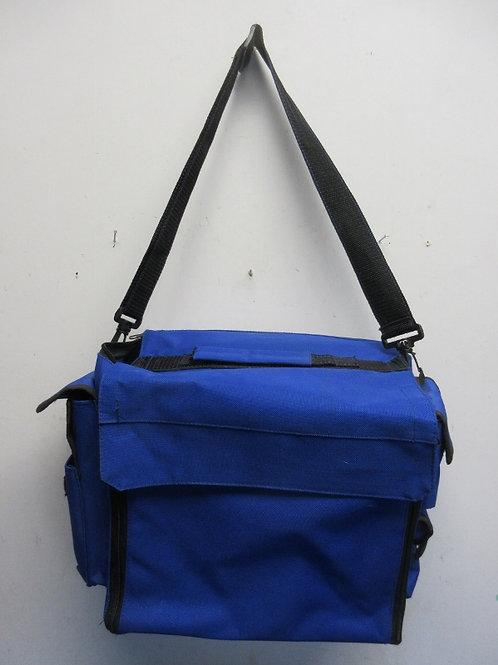 Blue canvas satchel bag, many compartments