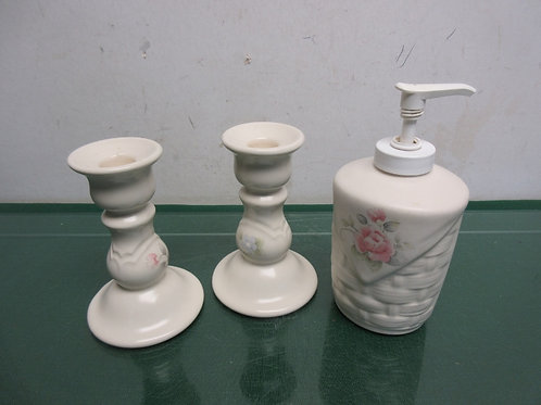 Pfaltzgraff Tea Rose candle holders and soap pumper