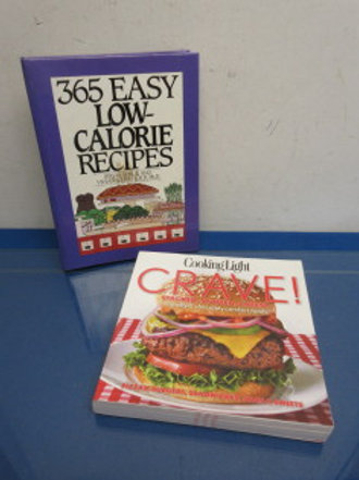 Pair of light low cal cookbooks, crave cooking light &365 easy low cal