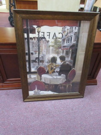 Print of couple sitting in café after hours with bronze tone frame - 28x36