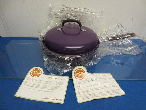 Mark Charles Misilli 3 qt covered round non stick bbq pan - purple - brand new