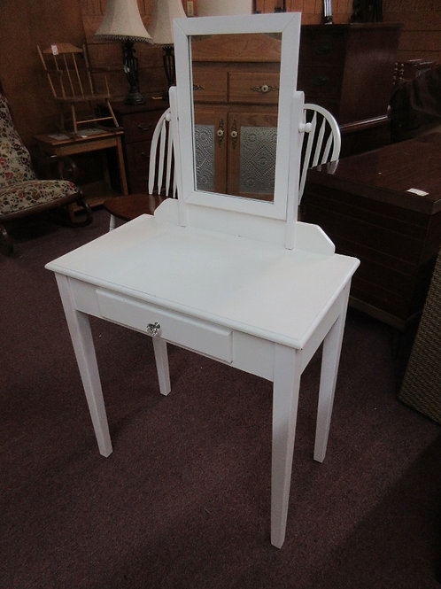 White vanity with mirror and 1 drawer