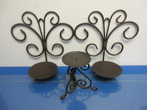 Set of 3 metal pillar candle holders-one table top and 2 wall sconces