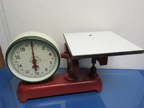 Phila. Scoop & Scale Rare Vintage 20lb cast iron dbl sided scale w/ porcelain