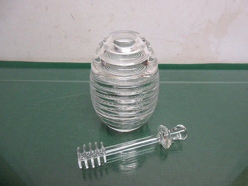 Clear acrylic honey jar with serving stick