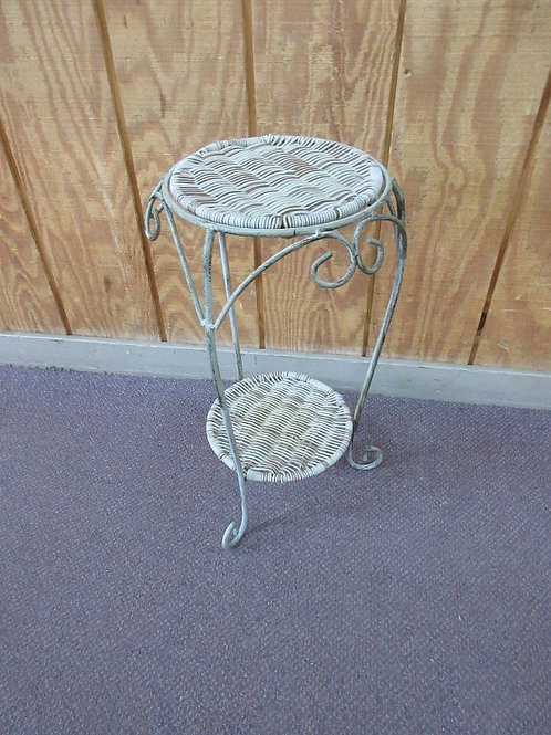 """Wicker and metal 2 tier plant stand 10""""x 21""""high"""