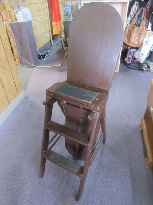 Dark stained ironing board step stool combination