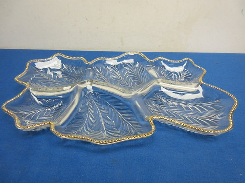 Glass 6 section leaf shaped serving dish - 11x16