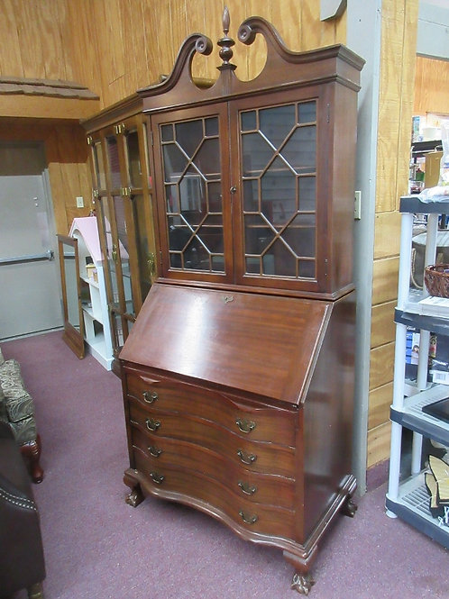 Antique solid mahogany 2 pc locking secretary with claw feet, 4 bottom drawers -