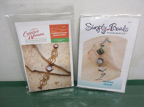 Pair of jewelry kits, copper and crystal watch and abalone watch