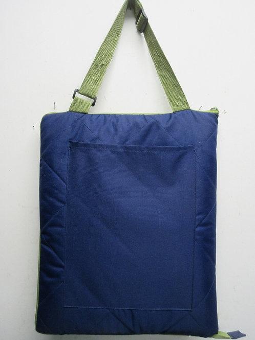 "Folding picnic blanket, blue cloth top & nylon underside-54x72""-zips up handles"