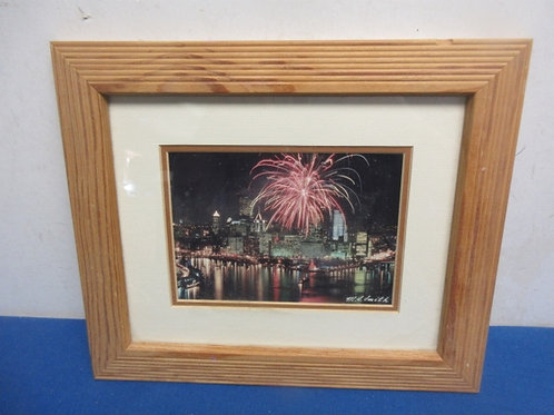 Framed photo fireworks over pittsburgh 10x12