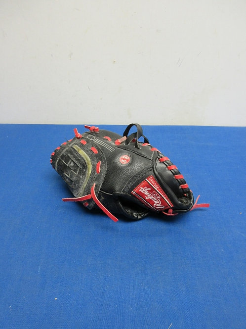 """Rawlings child size 9"""" right handed fielding glove, black with red laces"""