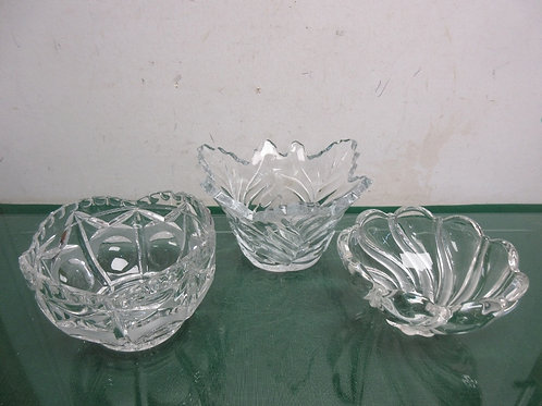 Set of 3 heavy cut glass small serving bowls