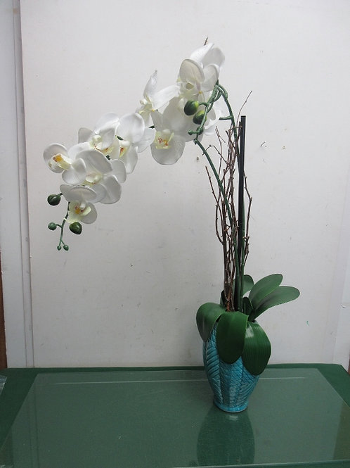 """Artificial white orchids in blue vase, 28"""" high"""