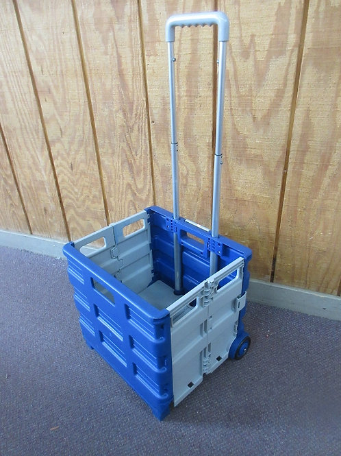 Gray and blue folding pull alon crate on wheels