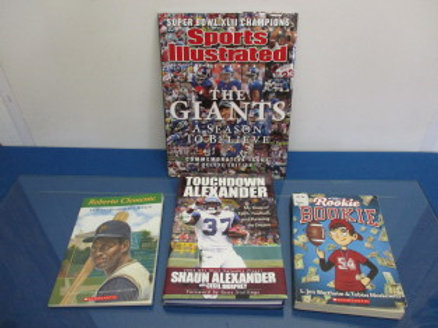 """set of 4 children's sports themed books - """"Roberto """"Clemente"""", """"Rookie Bookie"""","""