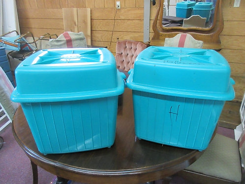 """Pair of square plastic containers with lids, each 17x17x17"""""""