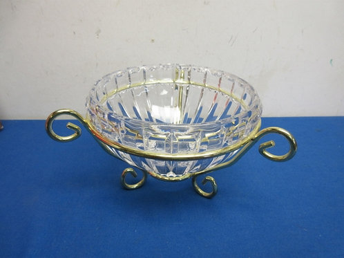 Heavy leaded crystal bowl with a gold metal holder